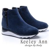 ★2017秋冬★Keeley Ann都會美感~後側環帶造型真皮厚底短靴(藍色)