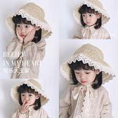 兒童嬰兒草帽寶寶母女親子女童防曬遮陽蕾絲韓版可折疊夏天沙灘帽