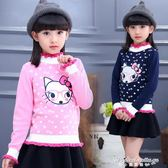 女童毛衣套頭圓領2春裝新款兒童針織衫打底衫純棉寶寶童裝外套
