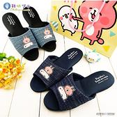 童鞋城堡-粉紅兔兔與P助 居家室內靜音拖鞋 卡娜赫拉 KI0581 藍/水藍 (共二色)