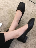 粗跟單鞋女2021夏季新款黑色百搭職業秋季方頭氣質低跟工作小皮鞋 寶貝計畫