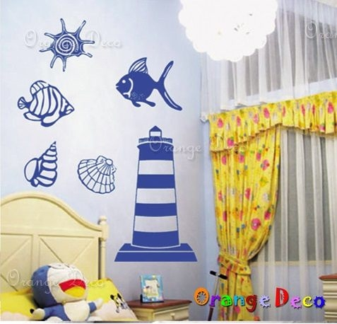 壁貼【橘果設計】海洋 DIY組合壁貼/牆貼/壁紙/客廳臥室浴室幼稚園室內設計裝潢