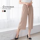 寬褲--簡約氣質寬版鬆緊綁帶褲頭彈性皺褶...