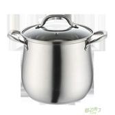 湯鍋 湯鍋304不銹鋼復底電磁爐煮熬煮鍋燉鍋大容量高湯鍋家用燃 【快速出貨】