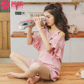睡衣女夏季短袖純棉露肩性感家居服少女夏天韓版清新學生兩件套裝