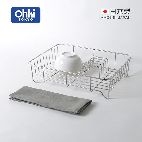 【日本大木金屬】Outline 日製究極鏤線18-8不鏽鋼餐具瀝水籃(附純棉麻吸水墊)