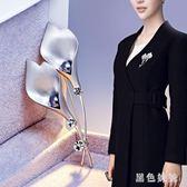 日韓版高檔女士珍珠貝殼水鉆胸針 歐美風葉子貝珠胸花別針配飾品 qf10112【黑色妹妹】