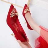 女士高更鞋 婚鞋女2020新款紅色婚紗新娘鞋結婚百搭尖頭秀禾細跟高跟鞋5【快速出貨】