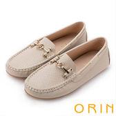 ORIN 復古樂活主義 金屬飾釦牛皮洞洞帆船鞋-米色