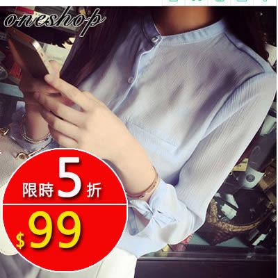 襯衫。韓版袖口蝴蝶結雪紡襯衫七分袖 S-XL 1號公館