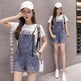 牛仔吊帶褲 夏季新款韓版寬鬆貓爪可愛短褲女 GY1512『毛菇小象』