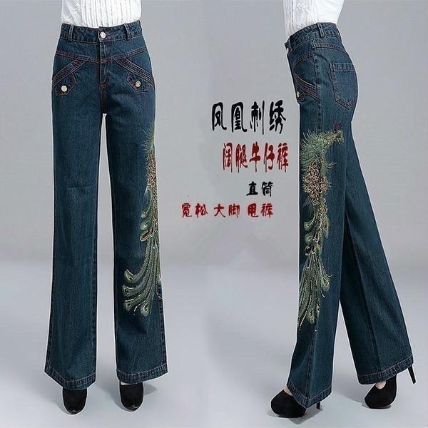 寬管褲 春秋大碼女裝闊腿牛仔褲長褲寬鬆鳳凰刺繡民族風女褲直筒褲大腳褲