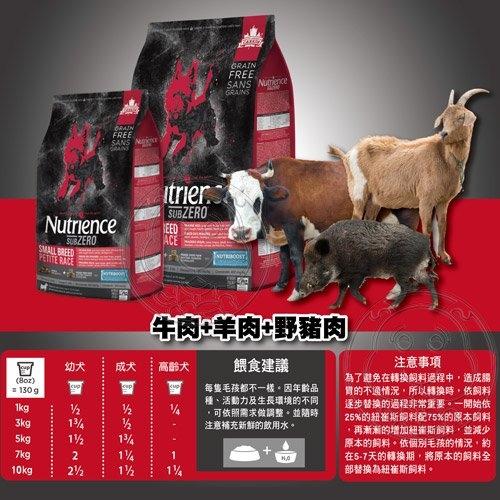【培菓寵物48H出貨】Nutrience紐崔斯》SUBZERO頂級無穀小型犬+凍乾-牛肉+羊肉+野豬肉-2.27kg