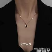 熱賣項鍊 韓版時尚新款ins網紅同款正品包18K玫瑰金項鍊女刻字鎖骨鍊吊墜 曼慕
