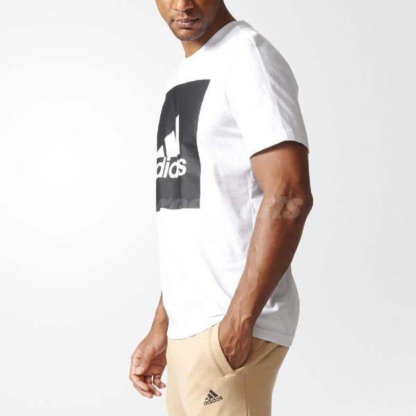 adidas T恤 Essentials Box Logo Tee 男款 經典 基本款 短袖 上衣 短T 運動 休閒 三條線 黑白 【PUMP306】 B47358