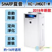 *元元家電館*SHARP 夏普日本原裝進口2018新款 空氣清淨機 KC-JH60T-W