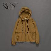Queen Shop【02071007】女裝 斜紋夾克連帽抽繩外套 S/M*預購*