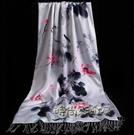 真絲絲巾女士長款百搭中國風配旗袍的圍巾女外搭春秋冬季披肩兩用「時尚彩虹屋」