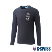 K-SWISS Cotton 66 Logo Tee印花長袖T恤-男-黑