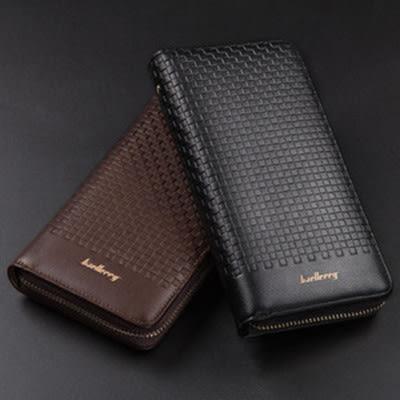 長夾新款大容量編織線條立體長皮夾 手機錢包 -寶來小舖【6055】 (現貨販售)
