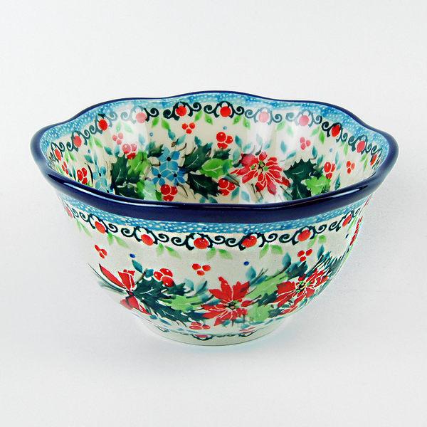 【手工波蘭陶 CA大廠】波蘭陶 花環 14cm 造型波浪碗 930(陶瓷 餐具)