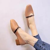 單鞋淺口奶奶鞋女百搭韓版豆豆鞋中跟【愛物及屋】