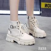 英倫風馬丁靴女新款秋靴冬增高跟厚底大尺碼女鞋短靴機車靴子 LR15833【原創風館】