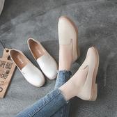 春秋季平底女鞋韓版百搭學生英倫風小皮鞋平跟休閒鞋單鞋 交換禮物