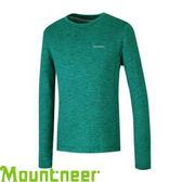【Mountneer 山林 男款 圓領雲彩針織保暖衣《孔雀綠》】22P17/吸濕排汗/長袖衣★滿額送