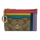【COACH】C LOGO彩虹配色卡片夾層鑰匙零錢包(彩虹配色)