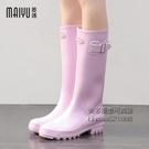 糖果色雨鞋女時尚款外穿高筒韓版水靴女士水鞋可愛晴雨靴加絨防滑 每日下殺NMS