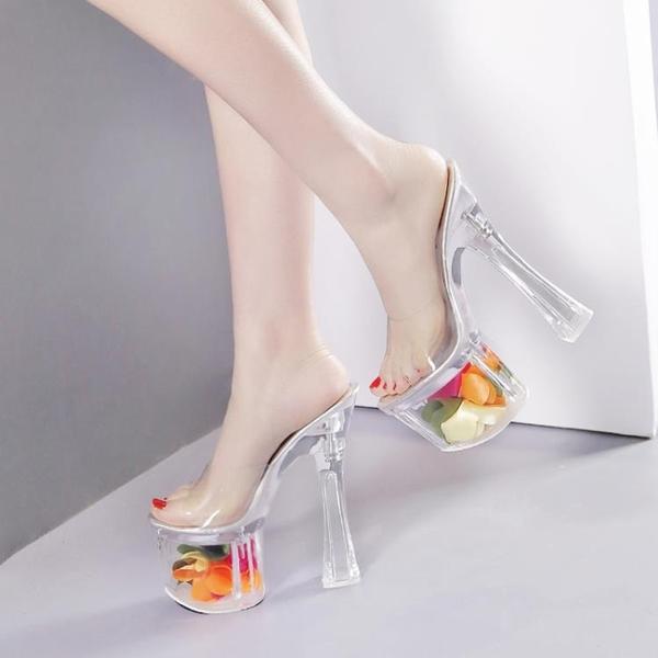 恨天高粗跟高跟鞋超高跟18/20/22cm夜店高跟鞋水晶透明涼拖鞋超穩