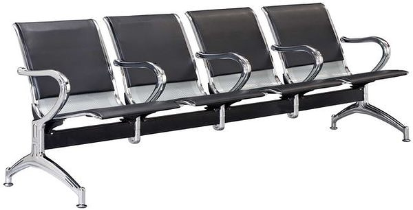 HP438-15 五人座扶手排椅(黑皮)(A28)