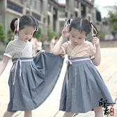 原廠漢服女童國風學生服童中國風親子連身裙交領襦裙