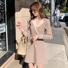 VK精品服飾 韓國風西裝V領雙排釦優雅顯瘦修身長袖洋裝