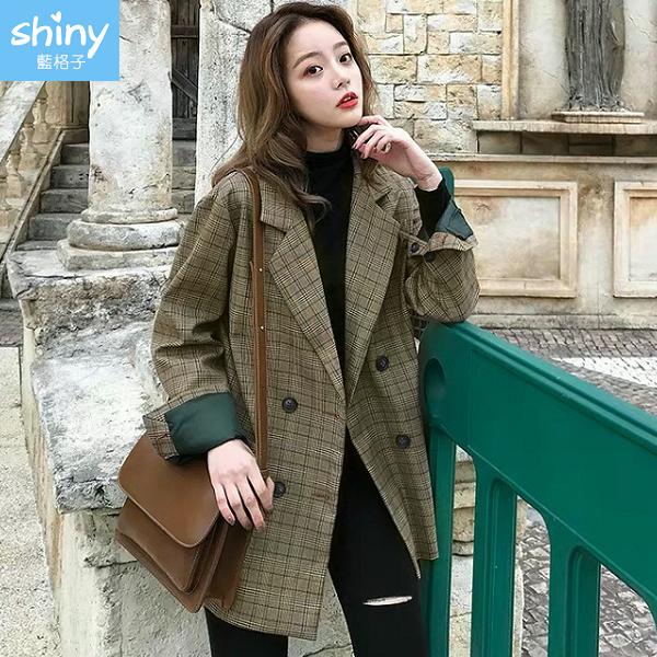 【V2997】shiny藍格子-英倫復古.格紋雙排釦長袖西裝外套