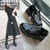 布洛克鞋小皮鞋秋季女鞋中跟單鞋ins復古學生秋鞋黑色英倫鞋子女   艾維朵