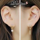 無耳洞耳環 現貨 韓國氣質甜美百搭幾何不對稱三角形珍珠夾式耳環 S91374 Danica 韓系飾品 韓國連線
