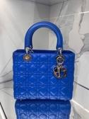 ■專櫃91折■ Dior 迪奧 全新真品 Lady Dior 中款五格小羊皮黛妃包 藍色