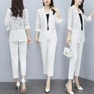 西服外套L-5XL胖妹妹氣質洋氣蕾絲七分袖西服外套M029韓衣裳