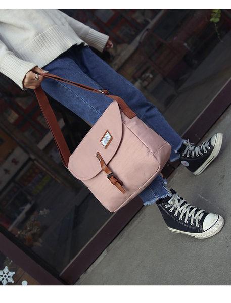 女包韓國ulzzang纯色防水帆布包書包 單肩側背二用 粉紅 灰 黑 三色可選