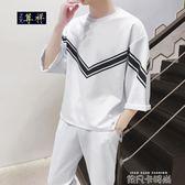 夏季套裝男裝潮流七分袖短t恤一套裝男韓版寬鬆帥氣網紅九分褲男 依凡卡時尚
