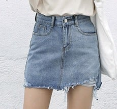 EASON SHOP(GU2846)高腰牛仔短裙女包臀裙毛邊抽鬚撕邊流蘇夏季韓顯瘦不規則磨破刷破割洞A字半身裙