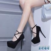 16公分舞臺走秀鞋15cm超高跟粗跟恨天高一字扣黑色高跟鞋女 JY14668『男神港灣』