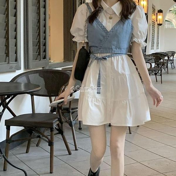 復古法式泡泡袖洋裝兩件套夏季學生韓版顯瘦牛仔吊帶裙子套裝女 快速出貨