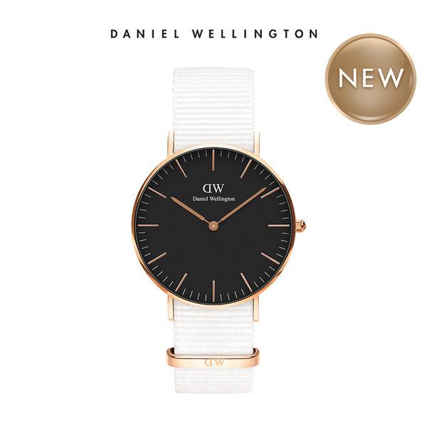 Daniel Wellington DW 手錶 32mm玫瑰金框 Classic Petite 純淨白x黑錶面 織紋手錶