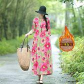 秋冬新款棉麻高腰顯瘦連衣裙民族風加絨加厚寬鬆顯瘦長裙洋裝