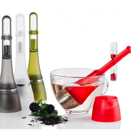 德國AdHoc 計時器漂浮濾茶器(共4色) 午茶時光 泡茶 品茗配件 沙漏計時器 不鏽鋼 好生活