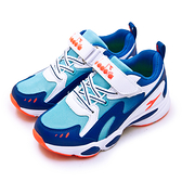 LIKA夢 DIADORA 迪亞多那 19cm-23cm 輕量4E寬楦避震慢跑鞋 經典老爹鞋系列 藍白橘 11017 中童