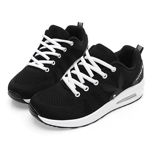 PLAYBOY 舒適簡約 針織布綁帶休閒鞋-黑白